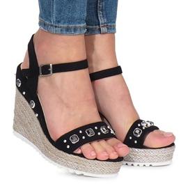 Czarne sandały na koturnie Glam Shine 2