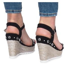 Czarne sandały na koturnie Glam Shine 1