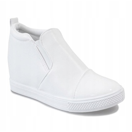 Białe sneakersy na koturnie DD409-2 1