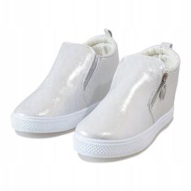 Srebrne ażurowe sneakersy na koturnie DD383-2 szare 2