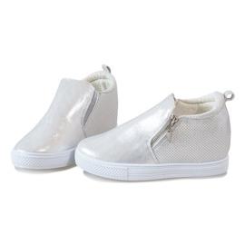 Srebrne ażurowe sneakersy na koturnie DD383-2 szare 3