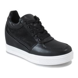 Czarne sneakersy na koturnie z koronką MY562 1