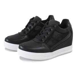 Czarne sneakersy na koturnie z koronką MY562 2