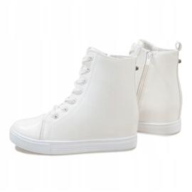 Białe sneakersy na koturnie DD476-2 1