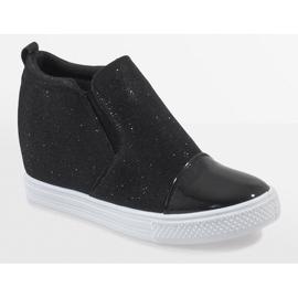 Czarne sneakersy na koturnie DD410-4 1