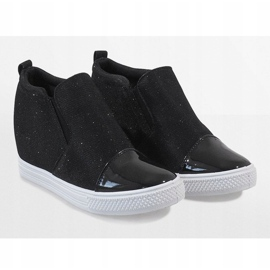 Czarne sneakersy na koturnie DD410-4 3
