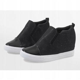 Czarne sneakersy na koturnie DD410-4 4