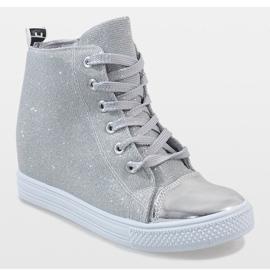 Srebrne sneakersy na koturnie DD385-2 szare 1