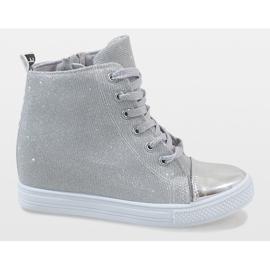 Srebrne sneakersy na koturnie DD385-2 szare 2