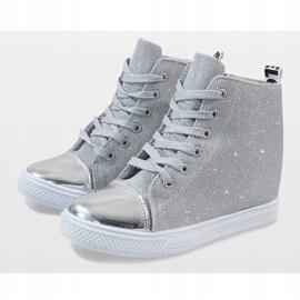 Srebrne sneakersy na koturnie DD385-2 szare 3
