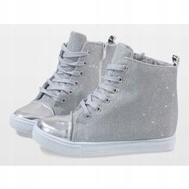 Srebrne sneakersy na koturnie DD385-2 szare 4