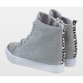 Srebrne sneakersy na koturnie DD385-2 szare 5