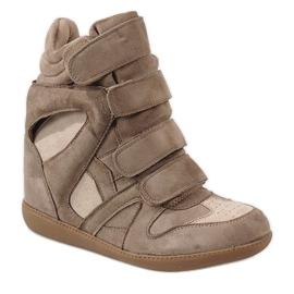 Camel sneakersy na koturnie H6601-32 brązowe 1