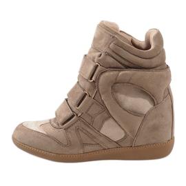 Camel sneakersy na koturnie H6601-32 brązowe 2