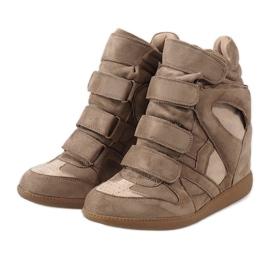 Camel sneakersy na koturnie H6601-32 brązowe 3