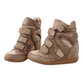 Camel sneakersy na koturnie H6601-32 brązowe 4