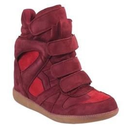 Bordowe sneakersy na koturnie H6601-45 czerwone 1