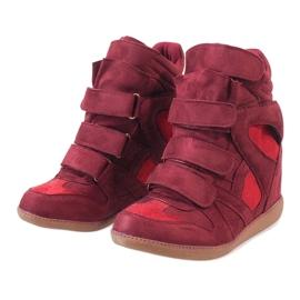 Bordowe sneakersy na koturnie H6601-45 czerwone 2