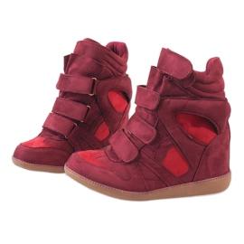 Bordowe sneakersy na koturnie H6601-45 czerwone 3