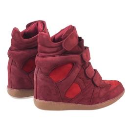 Bordowe sneakersy na koturnie H6601-45 czerwone 4