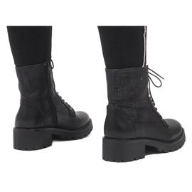 Ideal Shoes Czarne sznurowane botki trapery z cekinami 1621 3
