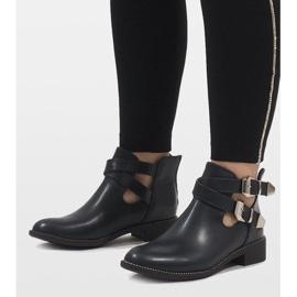 Ideal Shoes Granatowe otwarte botki Y8157 1