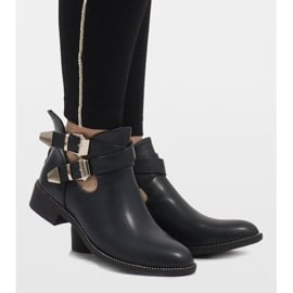 Ideal Shoes Granatowe otwarte botki Y8157 3