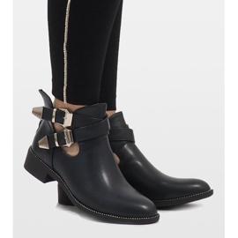 Ideal Shoes Granatowe otwarte botki Y8157 4