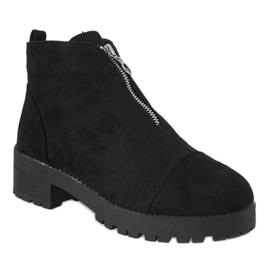 Kayla Shoes Czarne botki na obcasie z suwakiem 2017-3 1