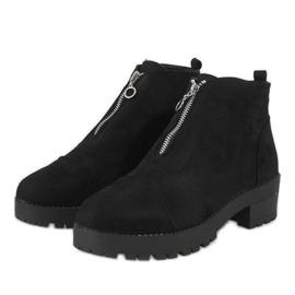 Kayla Shoes Czarne botki na obcasie z suwakiem 2017-3 2