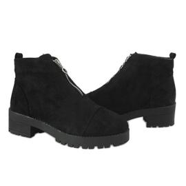 Kayla Shoes Czarne botki na obcasie z suwakiem 2017-3 3