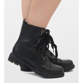 Kayla Shoes Czarne sznurowane botki S161 1