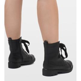 Kayla Shoes Czarne sznurowane botki S161 4