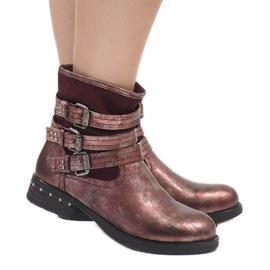 Kayla Shoes Bordowe ocieplane botki S109 czerwone 1
