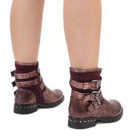 Kayla Shoes Bordowe ocieplane botki S109 czerwone 2
