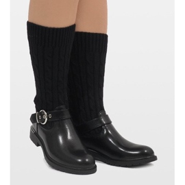 Ideal Shoes Czarne botki ocieplane E-4939 1