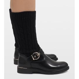 Ideal Shoes Czarne botki ocieplane E-4939 2
