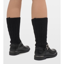 Ideal Shoes Czarne botki ocieplane E-4939 3