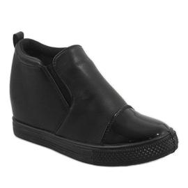 Czarne sneakersy na koturnie DD409-1 1