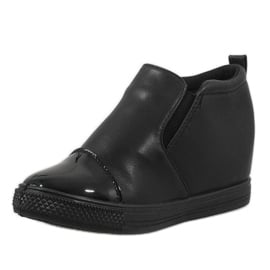 Czarne sneakersy na koturnie DD409-1 2
