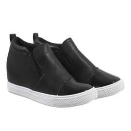 Czarne sneakersy na koturnie DD409-4 3