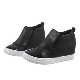 Czarne sneakersy na koturnie DD409-4 4