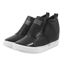 Czarne sneakersy na koturnie DD392-4 4
