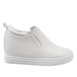 Białe sneakersy na koturnie DD384-2 2