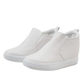 Białe sneakersy na koturnie DD384-2 3