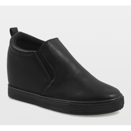 Czarne sneakersy na koturnie DD384-1 1