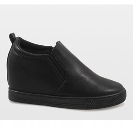 Czarne sneakersy na koturnie DD384-1 2