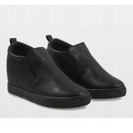 Czarne sneakersy na koturnie DD384-1 3