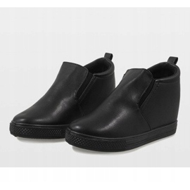 Czarne sneakersy na koturnie DD384-1 4