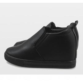Czarne sneakersy na koturnie DD384-1 5
